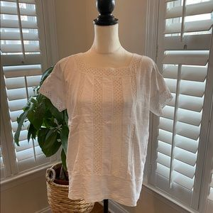 Madewell eyelet inset vignette top blouse size m